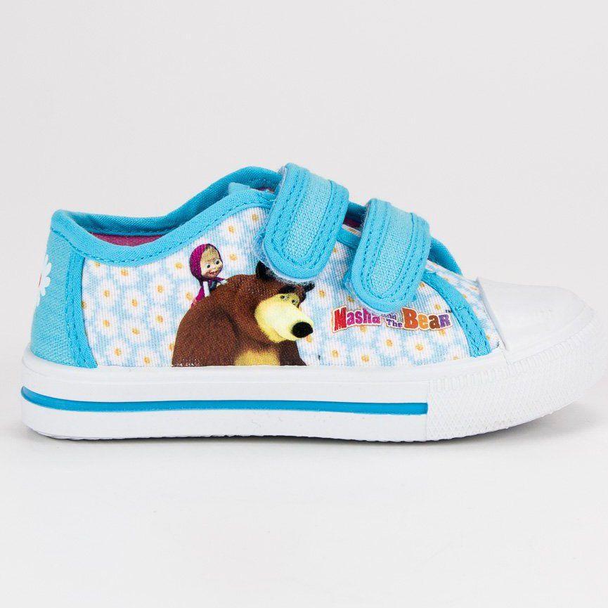 Buty Sportowe Dzieciece Dla Dzieci Butymodne Niebieskie Trampki Na Rzepy Masza I Niedzwiedz Butymodne Blue Sneakers Girls Shoes Baby Shoes