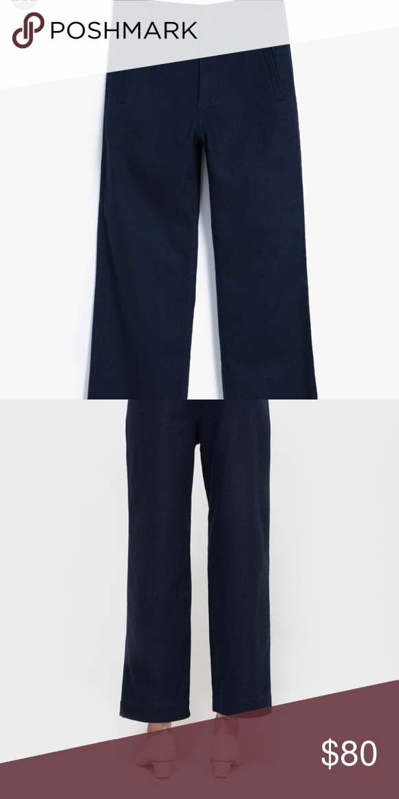 8808a1482000 GANNI Yoshe Pant XS - Navy 55% Linen 55% cotton Ganni high waist pants. I  love these but I ve outgrown them. GANNI Pants Trousers