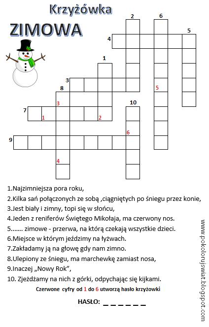 Zimowa Krzyzowka Dla Dzieci Pokoloruj Swiat In 2021 Teacher Morale Learn Polish Polish Language