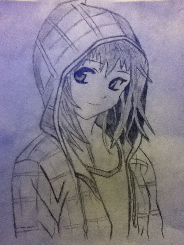 Anime Girl with Hoodie pokemon | Girl With A Hoodie Drawing