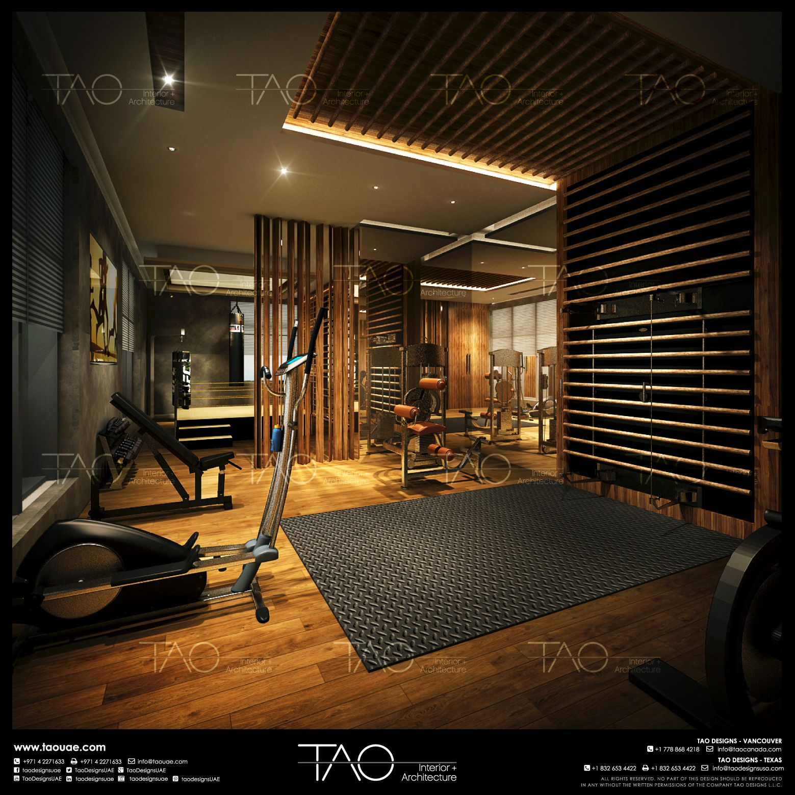 Villa Gym Interior in Palm Jumeirah, Dubai-UAE By TAO ... on dubai homes dance, dubai palms islands houses, double wide mobile homes interior designs, dubai luxury interior design,