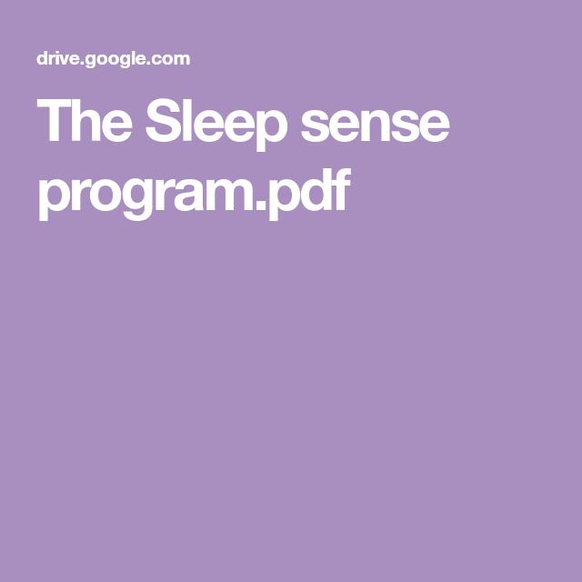 The Sleep Sense Program Pdf Sleep Sense Senses Sleep