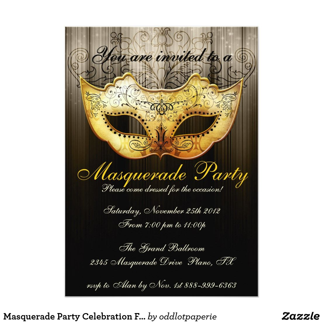 Masquerade Party Celebration Fancy Gold Invitation 2018