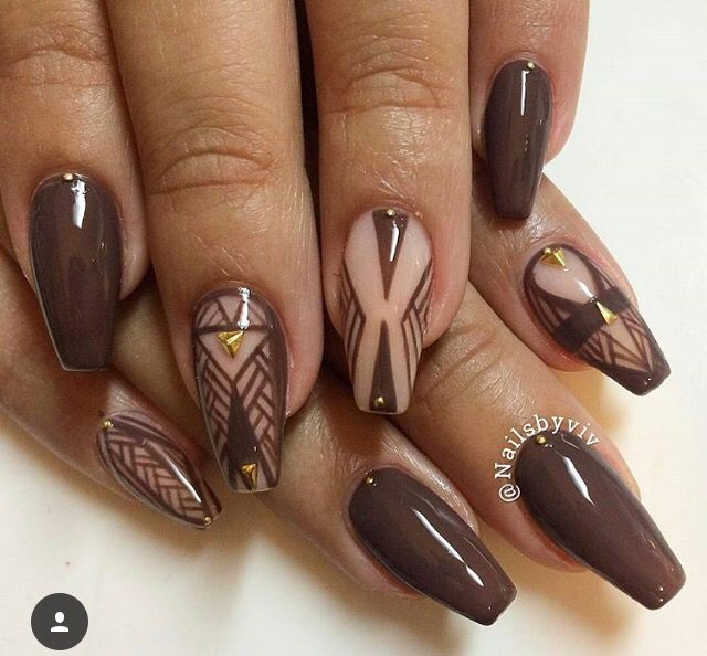 Here are some different shapes of brown acrylic nails. No matter what kind  of brown it is, dark brown, red brown or orange brown, matte or glitter. - Brown And Nude Coffin Nails NAILS, Nails, Nails
