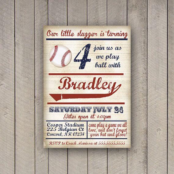 Baseball Birthday Invitation Party Invite Vintage