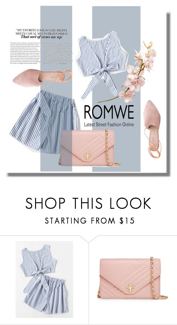 """ROMWE"" by tamarovska ❤ liked on Polyvore featuring Tory Burch and Summit"