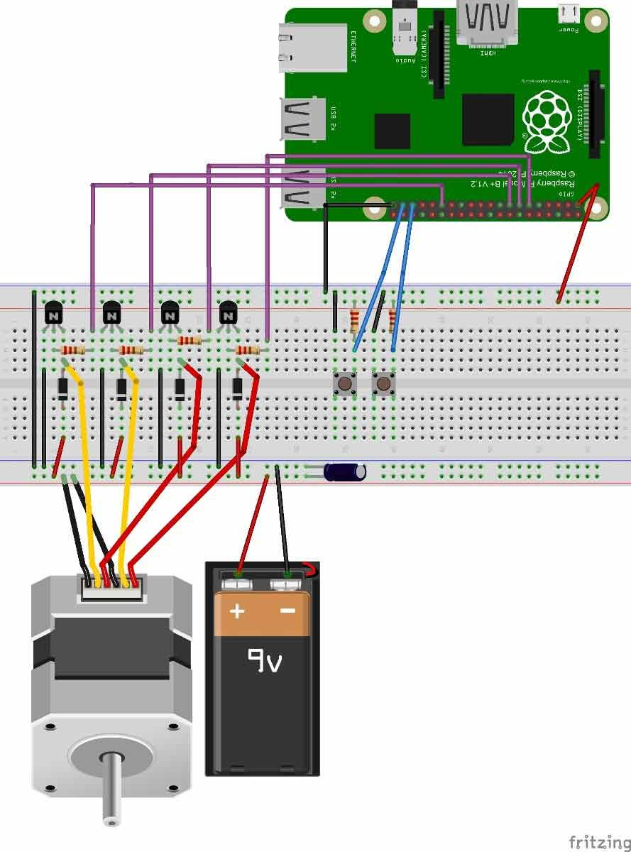 controlling stepper motor with raspberry pi circuit diagram [ 889 x 1200 Pixel ]