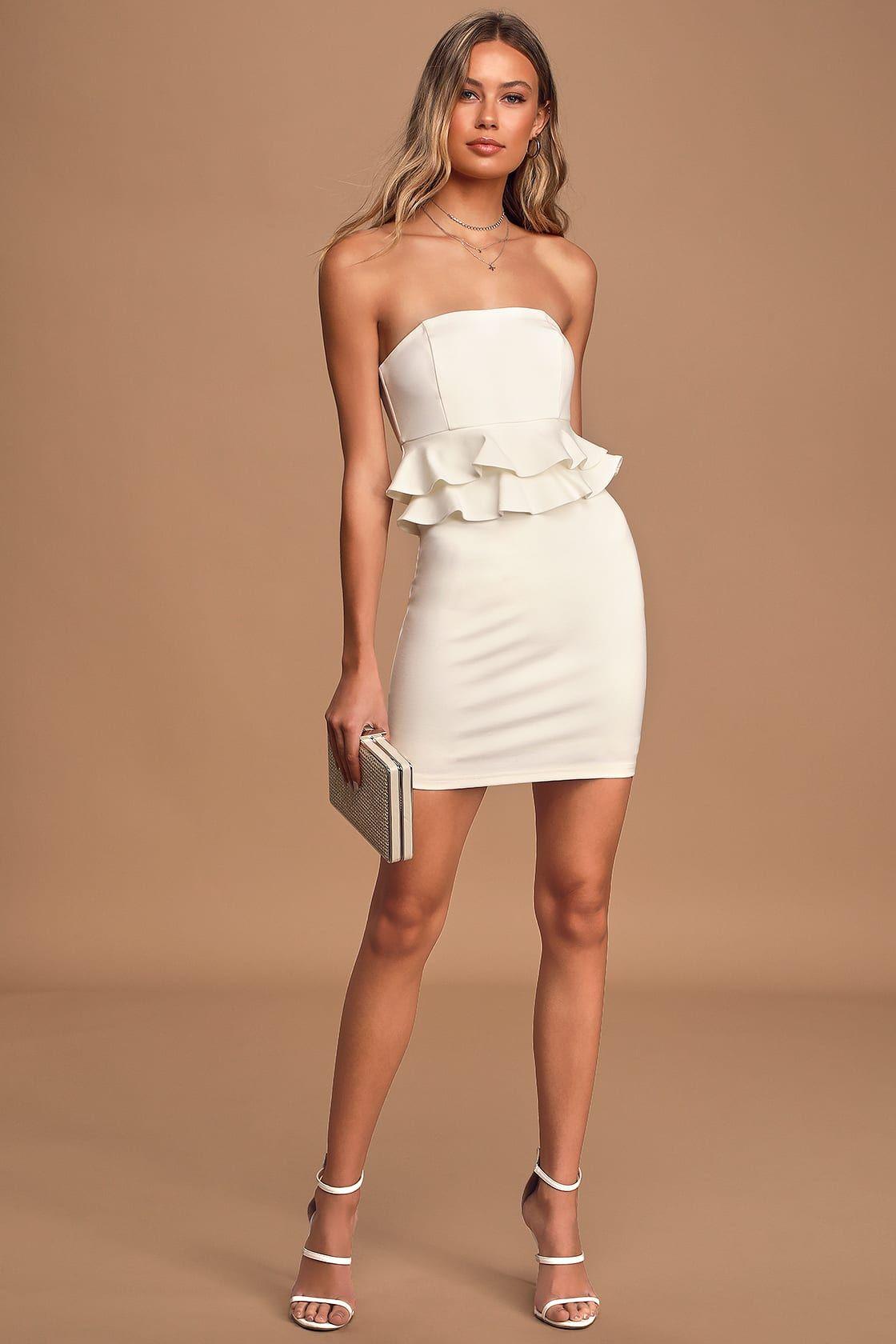 Glam Up Ivory Strapless Ruffled Bodycon Mini Dress Mini Dress Bodycon Mini Dress Pretty Midi Dresses [ 1680 x 1120 Pixel ]