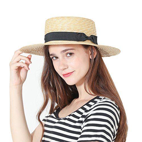 3810d04499425 Viva Fancy Womens  Panama Sun Hat Boater Handwoven Straw Hat for Summer Hats  For Short
