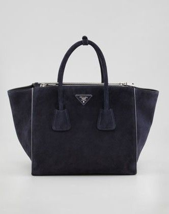 a2978183d7f WANT, NEED, HAVE TO HAVE!!! Prada -Suede Twin Pocket Tote Bag, Navy ...