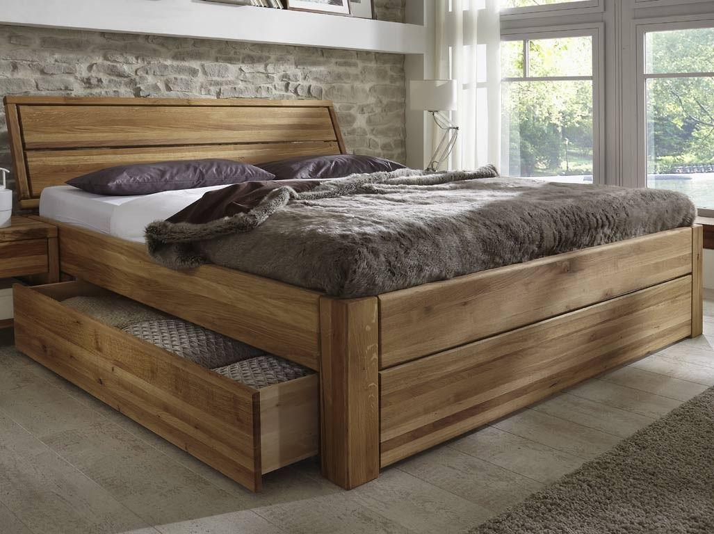 Komfortbett 180x200 Cm Eiche Massiv Mit Bettkasten Bett Eiche