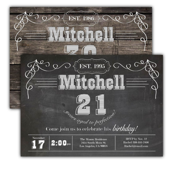 Guy Birthday Party Invitation Man Invite Chalkboard Wood Western Beer 30th 40th 50th 60th 21st 18th By DamesAndDollies