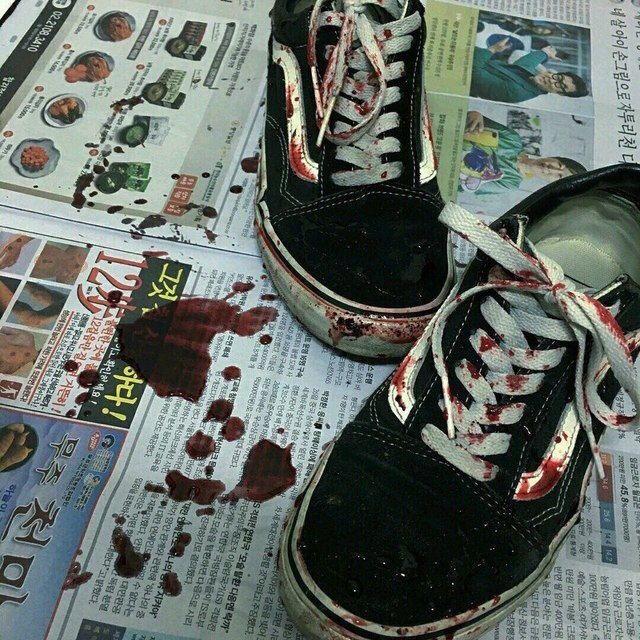 black vans ; blood
