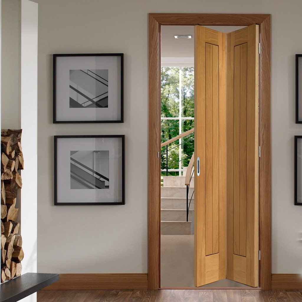 Suffolk Oak Bifold Door Vertical Lining Oak Bifold Doors Folding Doors Room Divider Doors