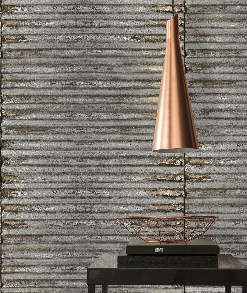 Papier peint métal tendance industrielle   Papier peint 30756-1 A.S. ...