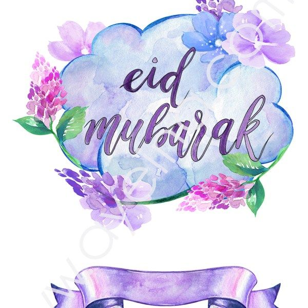 watercolor flowers cloud thought happy eid with images