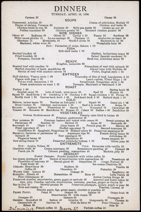 Dinner menu from Water St\/ Beaver St location, April 18, 1899 - french menu