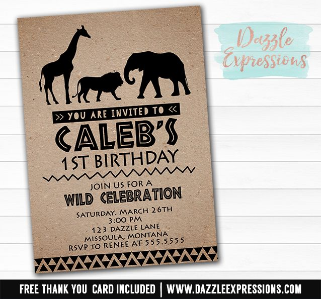 Printable African Safari Animal Birthday Invitation Jungle Animals - best of invitation card for new zoo