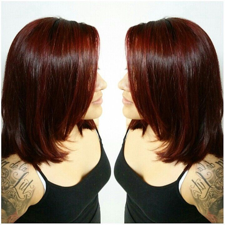 Exceptional Deep Burgundy Red Hair Color On Shoulder Length Layered Haircut