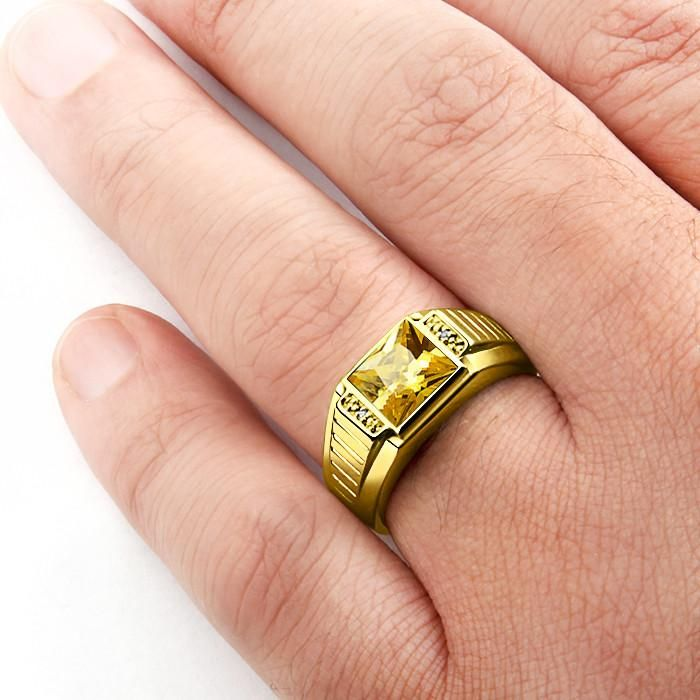Men S 10k Gold Ring With Natural Diamonds And Citrine Yellow Gemstone Ring For Men Rings For Men Emerald Gemstone Rings Gold Rings