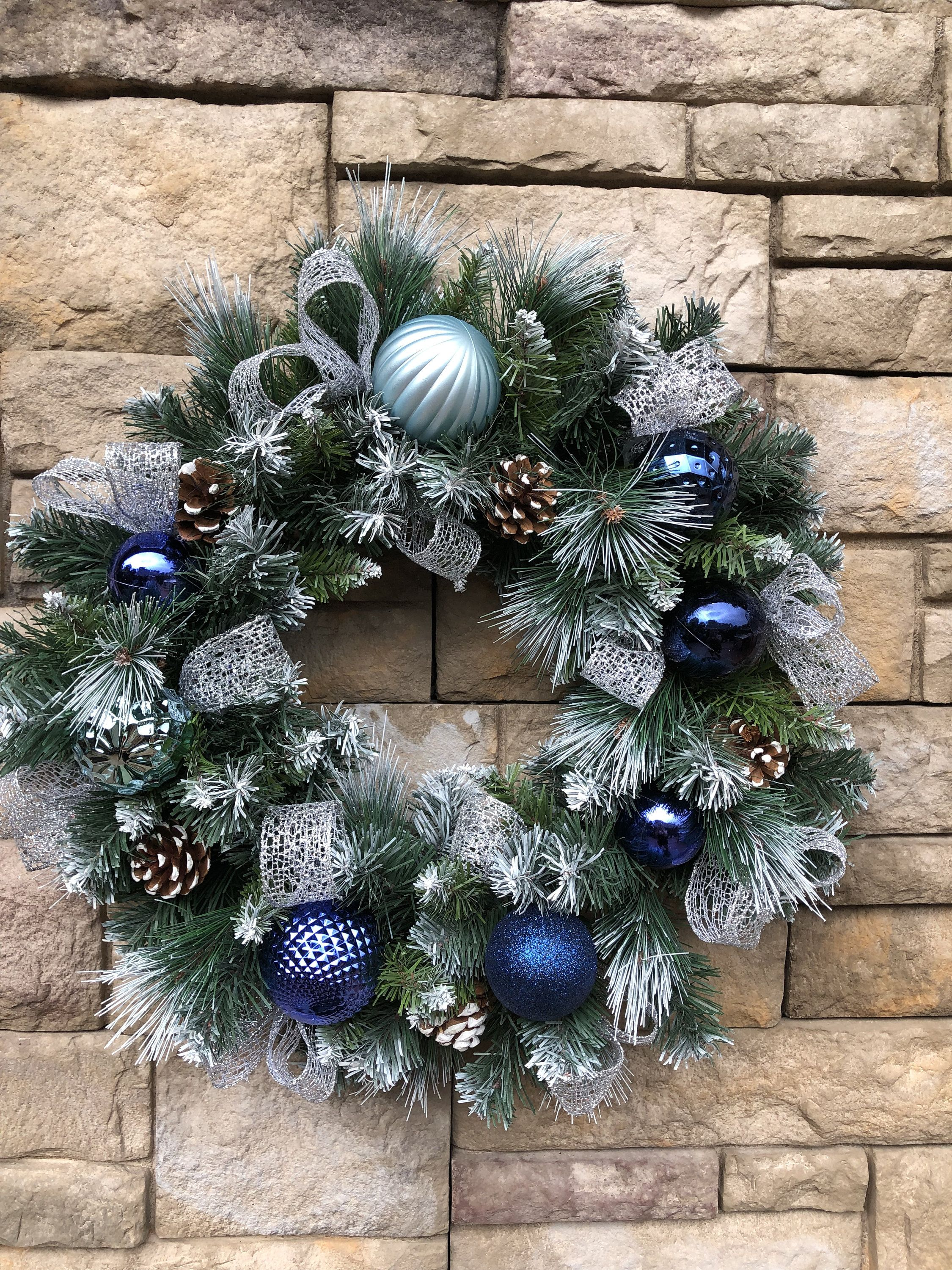 Photo of Sparkling Navy Blue Silver Flocked Holiday Wreath-Flocked Navy Silver Christmas Decor-Silver Blue Front Door Wreath-Flocked Faux Wreath