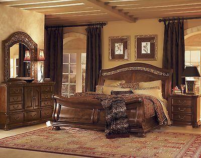 Wynwood Granada Cherry Queen Size Sleigh Wood Bed Bedroom Furniture - Queen-size-bedroom-sets-creative