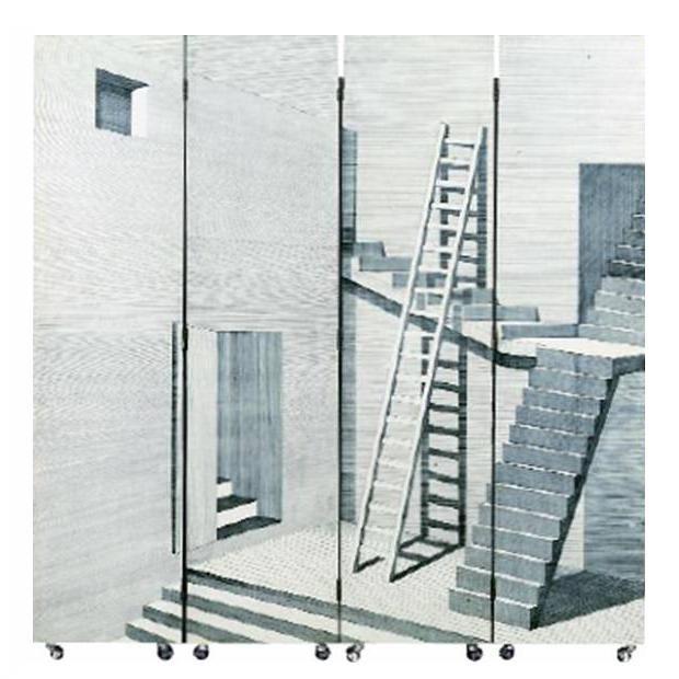 Paravento Scaletta by Piero Fornasetti produced by Fornasetti [Spazio Fornasetti]