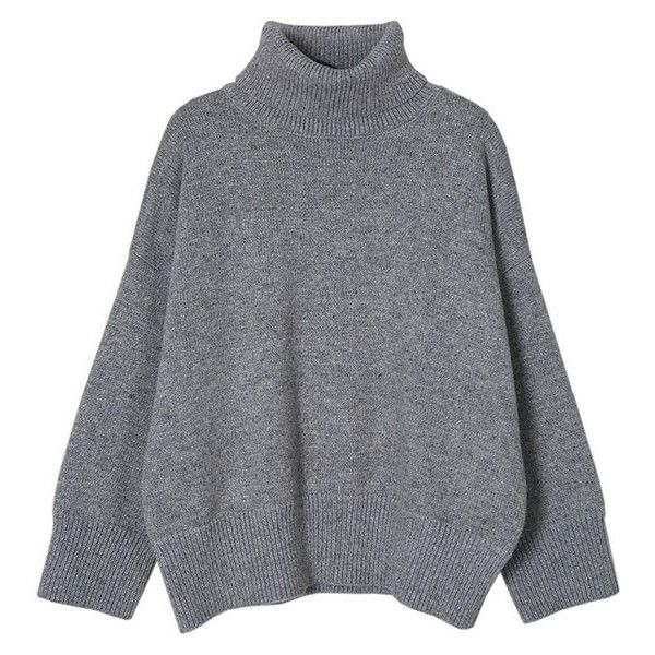 Crop Fit Turtleneck Sweater found on Polyvore featuring tops ...