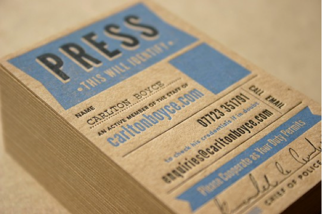 daniel duhig design press pass style business card designed for