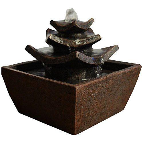 Zen Light Temple Fontaine d\u0027Intérieur Marron Foncé 165 x 165 x 155 - fontaine a eau d interieur