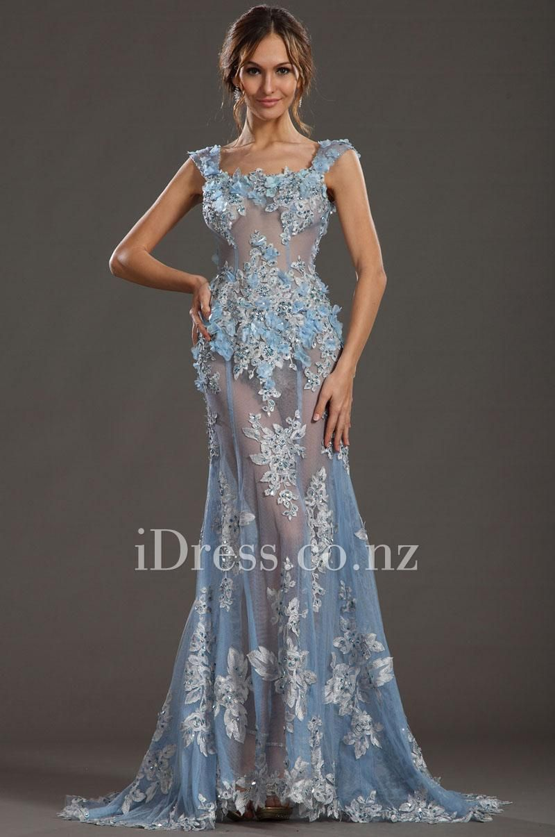 Red Carpet Sexy Blue Flowers Lace Adorned Evening Dress with U Back