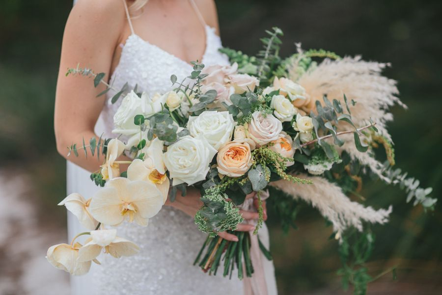 Boho Luxury With Pampas Roses And Phalaenopsis Orchids White