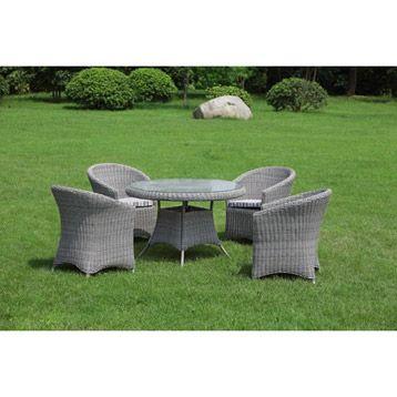 Table de jardin ronde en verre, coloris gris clair ...