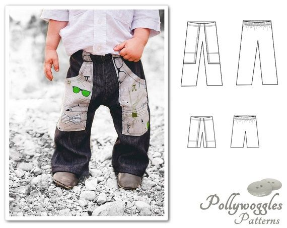 Pants & Shorts Pattern with Pockets Flat by PollywogglesPatterns