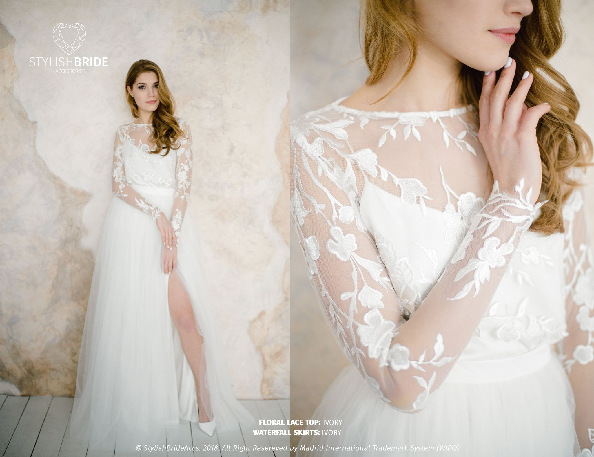 Wedding floral dress with slit engagement simple lace dress prom
