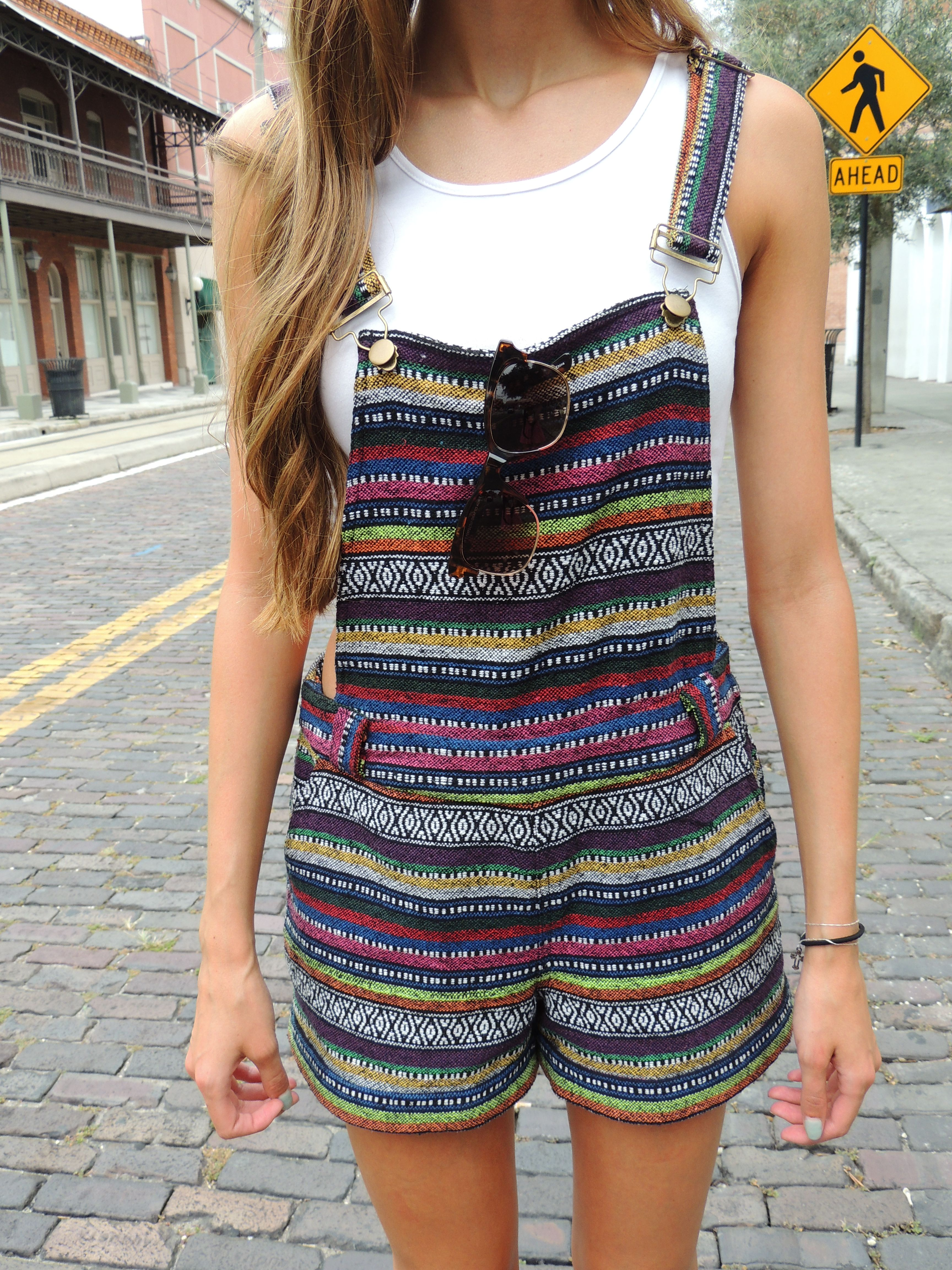 Read about these tribal print overalls on my personal style blog: http://fringeandfreespirits.wordpress.com/2014/06/04/outfit-of-the-day-tribal-overalls/ #tribal #overalls #Forever21 #beanie