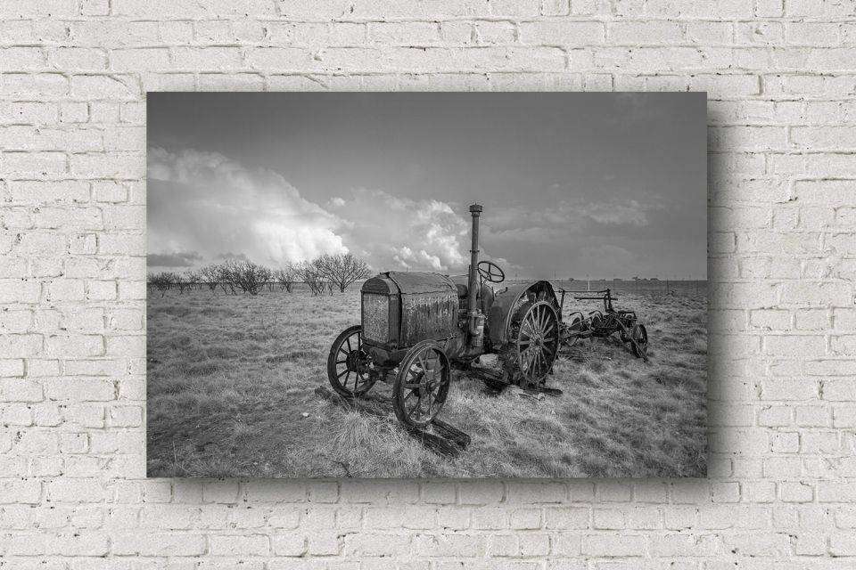Black And White Canvas Wall Art Gallery Wrapped Canvas Of Old Tractor Resting In Southern Texas Field Rustic Decor Artwork 8x10 To 30x40 Gallery Wrap Canvas Classic Art Canvas Wall Art