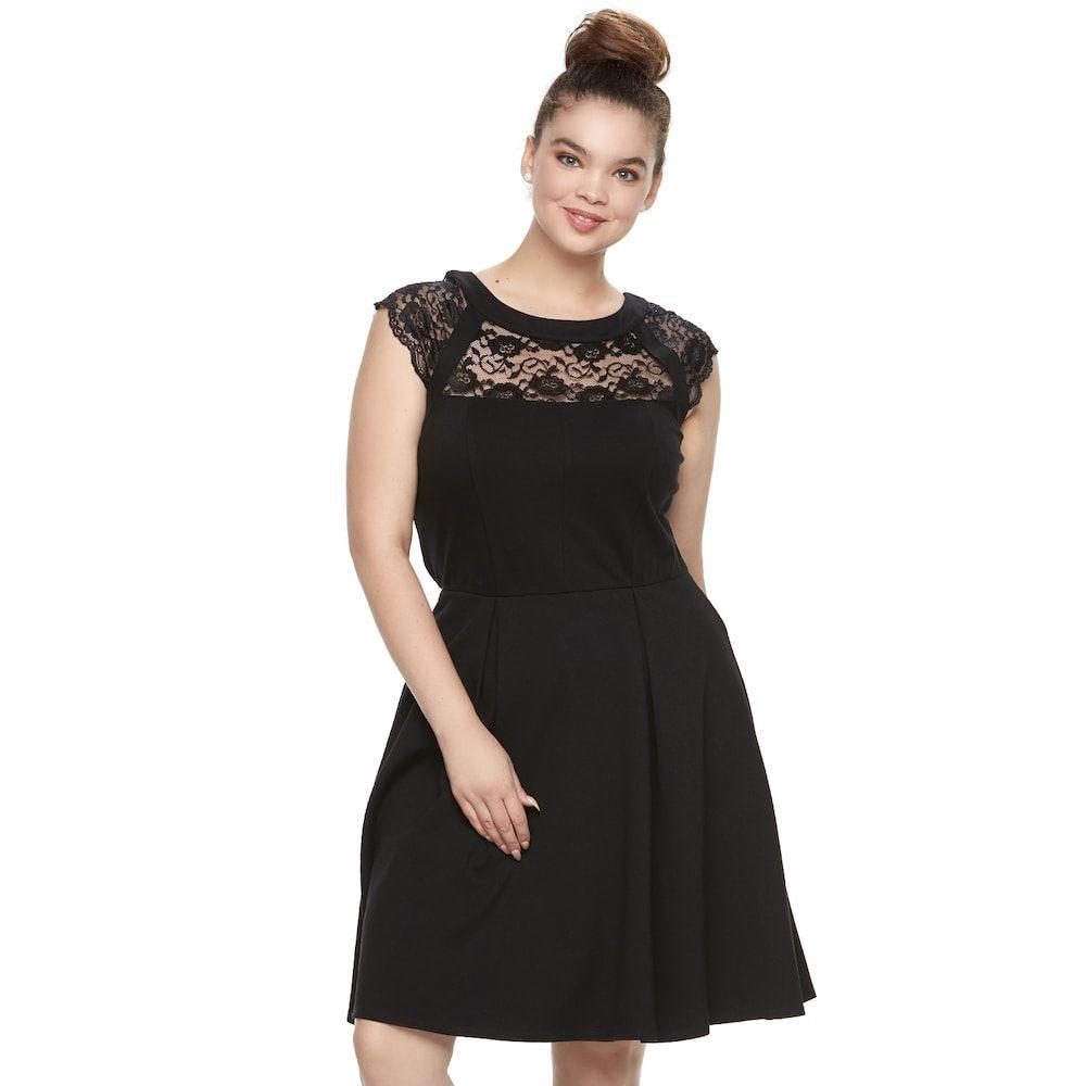 Juniors Plus Size Wrapper Lace Yoke Fit Flare Dress Black Fit