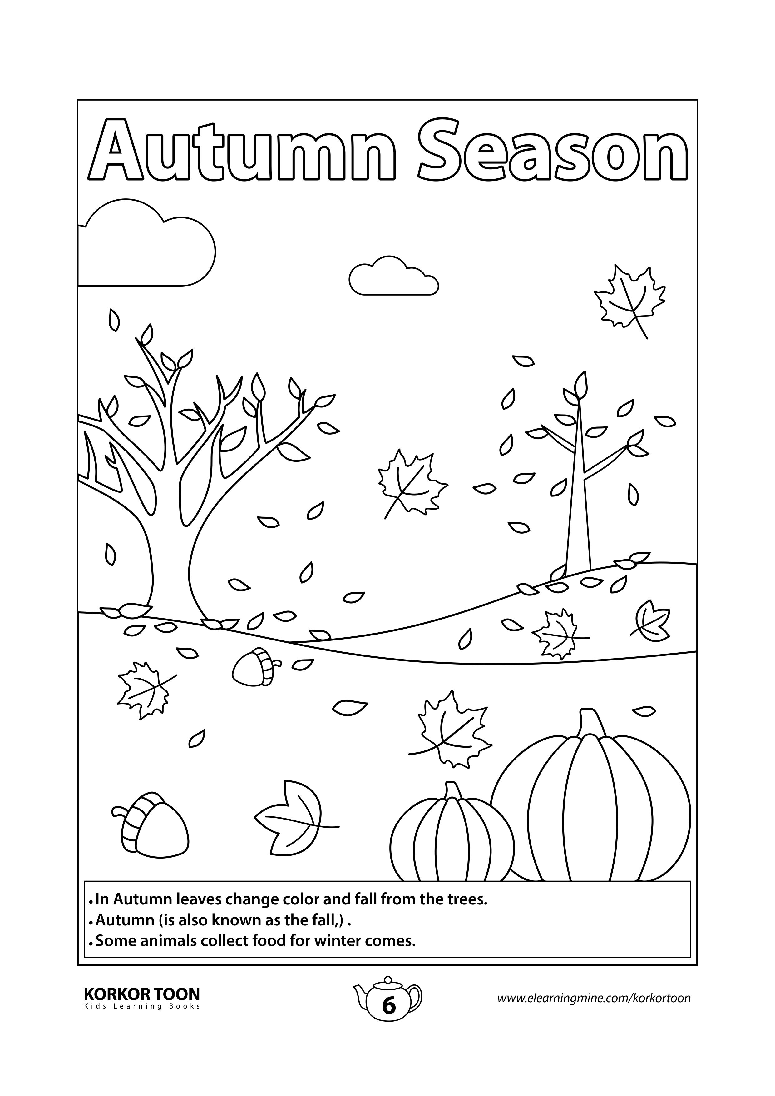 Seasons Coloring Book For Kids Autumn Season Coloring Page In 2021 Coloring Books Seasons Coloring Pages Coloring Pages