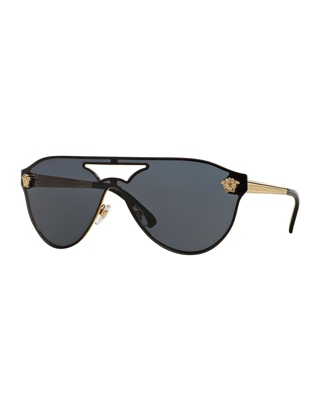 ae83069638482 Monochromatic Shield Brow-Bar Sunglasses