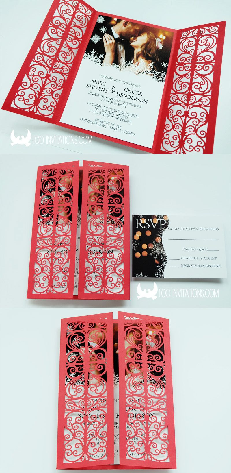 Red laser cut wedding invitation,you can put your wedding photo in ...