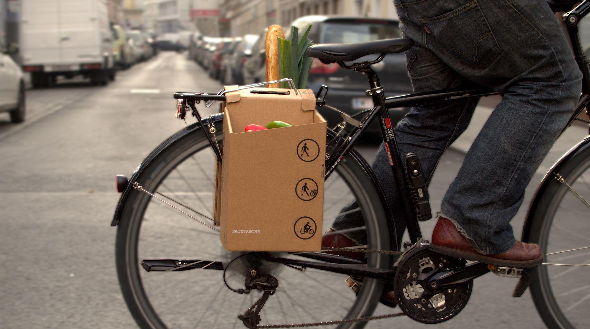 Architects Design Cardboard Carrier To Improve City Cycling Packtaschen Packtaschen Fahrrad Taschen
