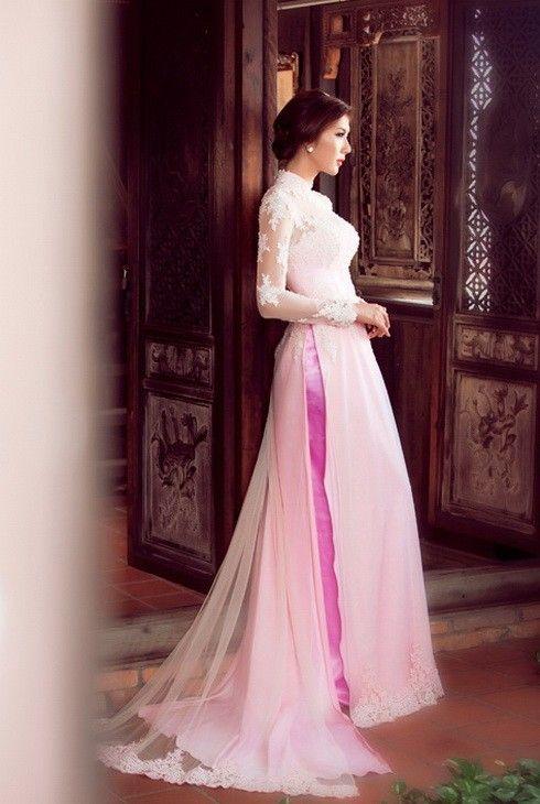 Ngọc Quyên đẹp như trong tranh với áo dài cưới-Thời trang