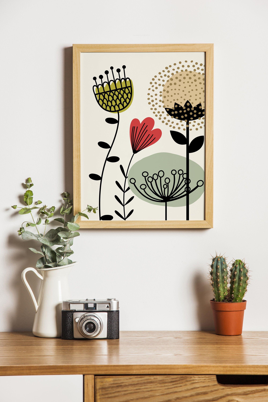 Flower Folk Art Print Mid Century Modern Art Scandi Art Etsy Scandi Art Diy Canvas Art Nursery Wall Art