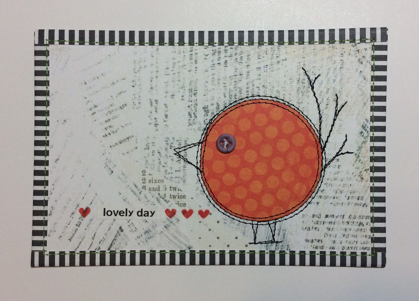 Grounded Birdies Postcard Fabric cards, Fabric postcards