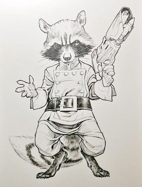 Rocket Raccoon by Stephane Roux | Dibujos | Pinterest | Cómic ...