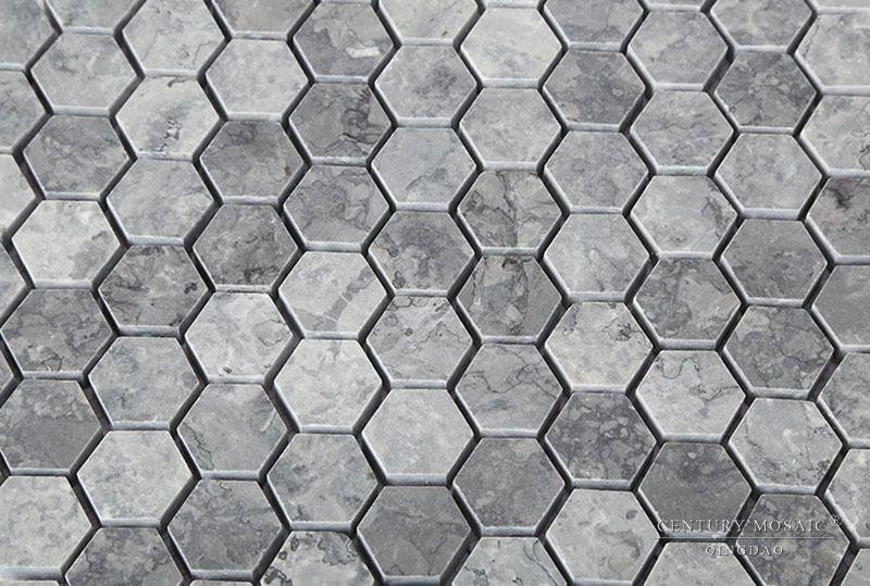 New Home Marble Design 1 Inch Grey Hexagon Mosaic Tiles For Floor