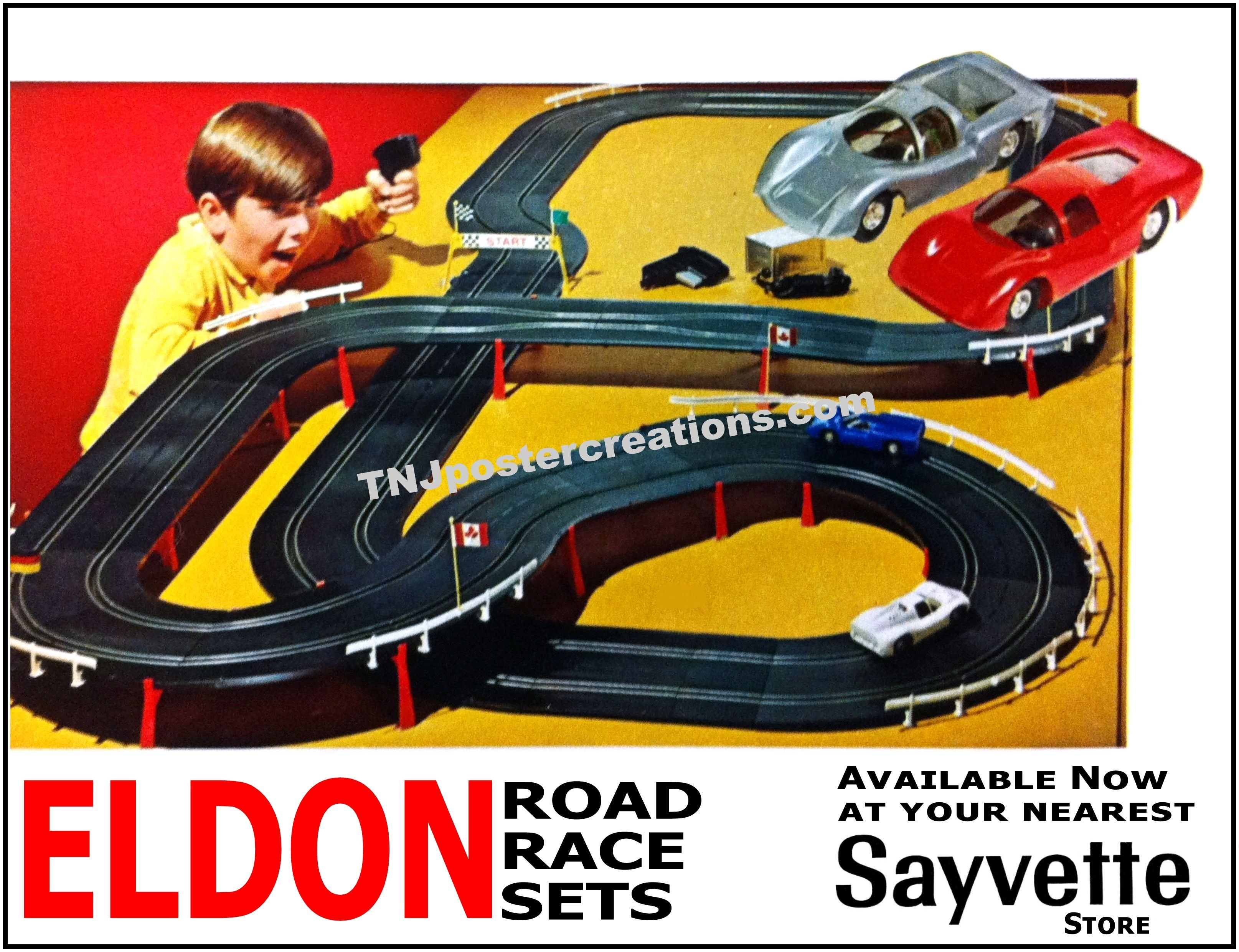 Eldon road race sets, available at Sayvette stores! Courtesy