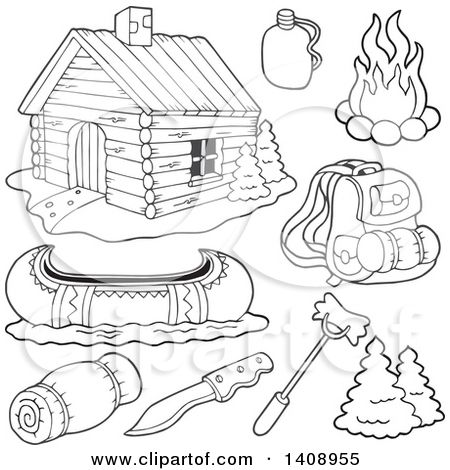 Clipart Of A Black And White Lineart Cabin And Recreation Items Royalty Free Vector Illustration By Visekart In 2021 Free Vector Illustration Camping Art Clip Art