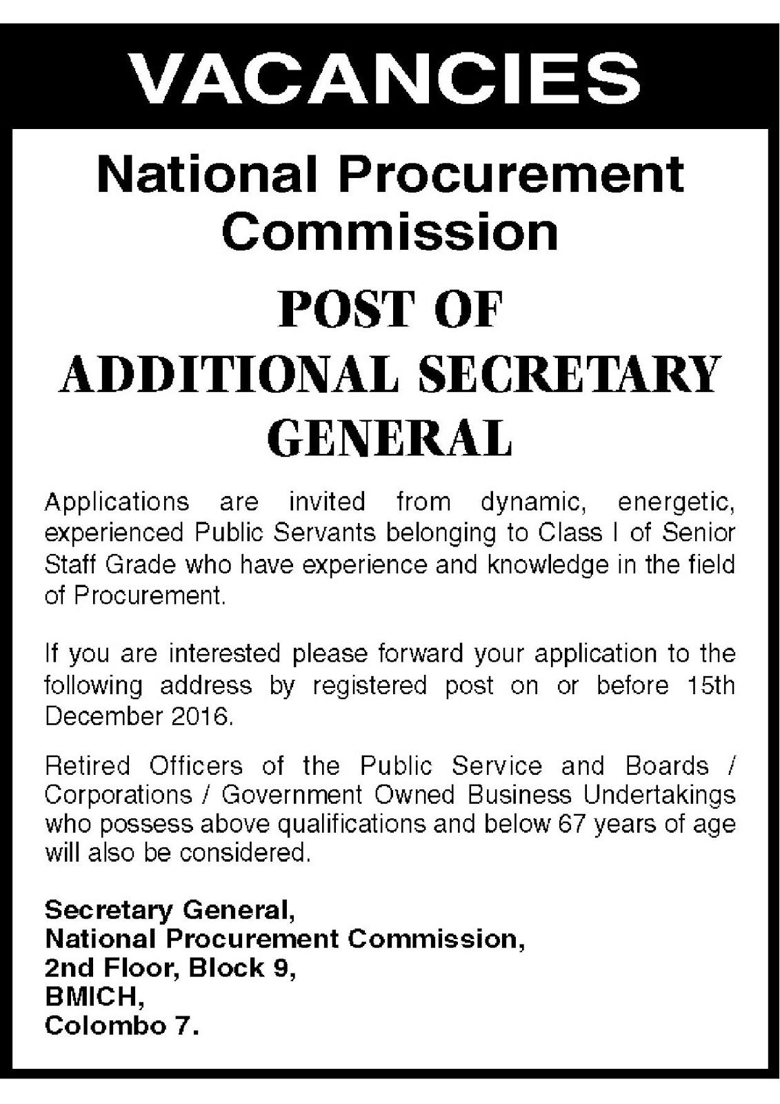 Sri Lankan Government Job Vacancies At National